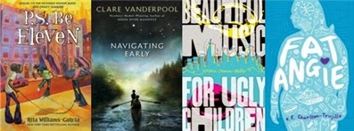 Covers of Youth Media Award winners P.S. Be Eleven, Navigating Early, Beautiful Music for Ugly Children, and Fat Angie.