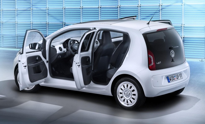 VW Up with passenger doors open