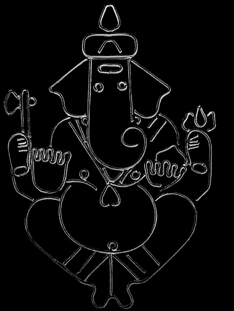 ganpati sketch on black background