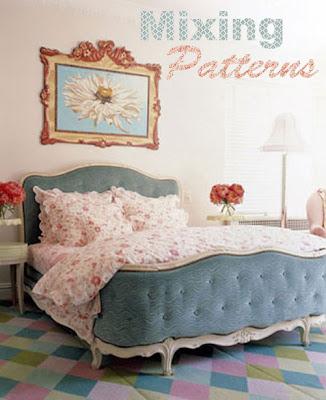 Mixing Patterns, girls bedroom, pink, blue, pastels, pretty, design