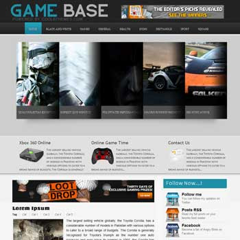 Game Base blogger template. template blogspot free. download template blogger for games