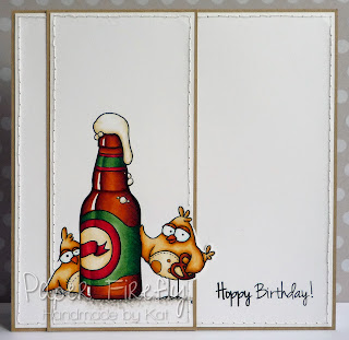 CAS card featuring birds with beer bottle