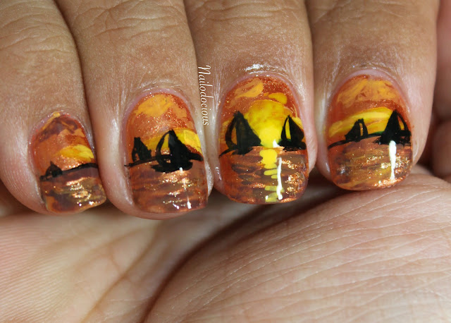 ocean sunset nails, ocean nails, sailboat nails