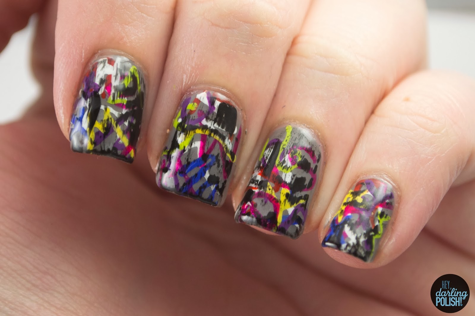 nails, nail art, nail polish, polish, graffiti, nail art a go go, hey darling polish, grunge