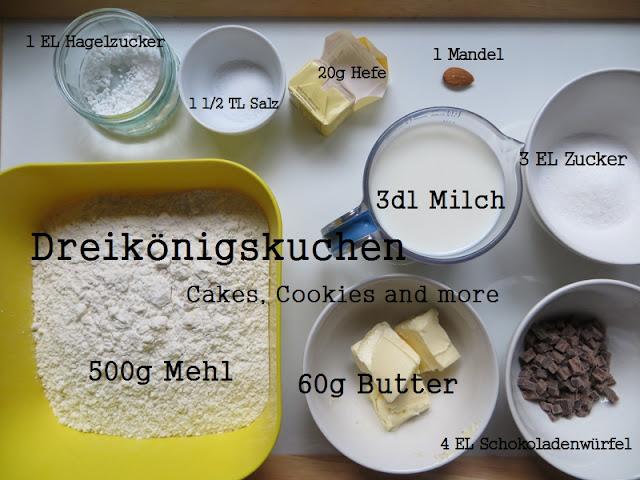 Rezept Dreikönigskuchen mit den verschiedenen Zutaten