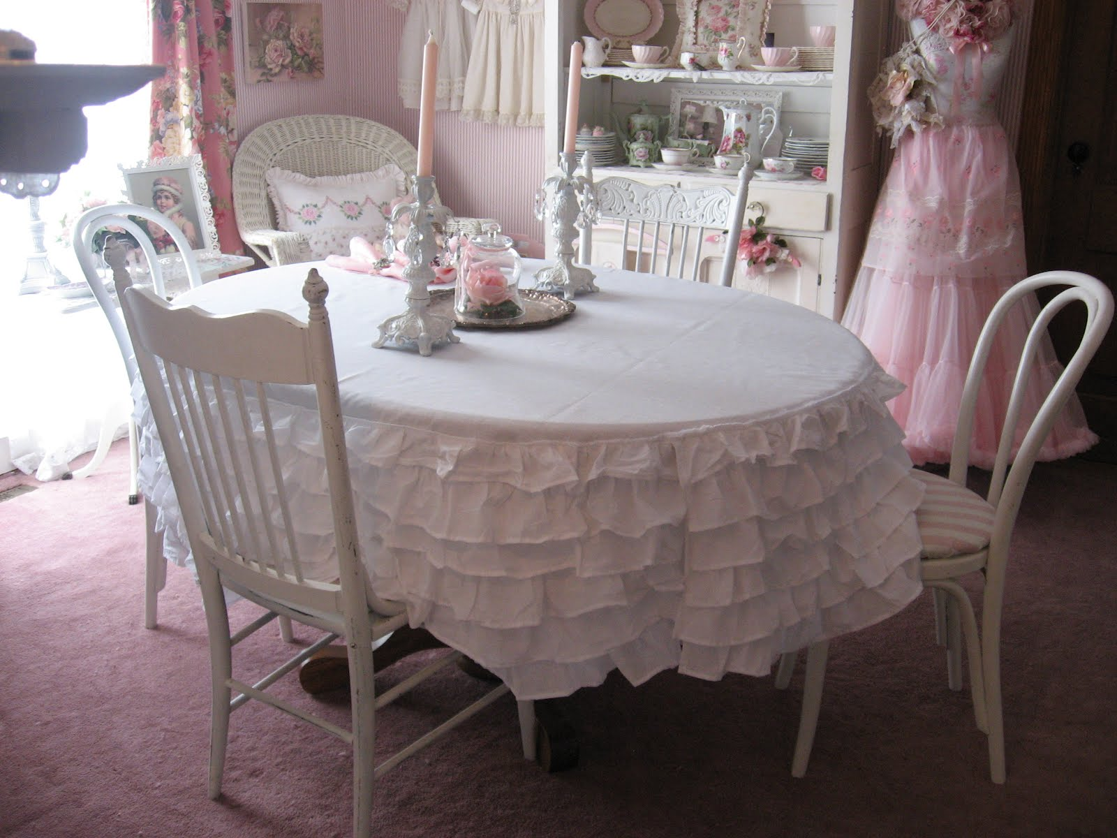 Captivating Ruffled Bedskirt Turned Tablecloth