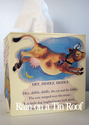 DIY Vintage Nursery Rhyme Tissue Box Cover {rainonatinroof.com} #DIY #vintage #tissue #nursery #rhyme