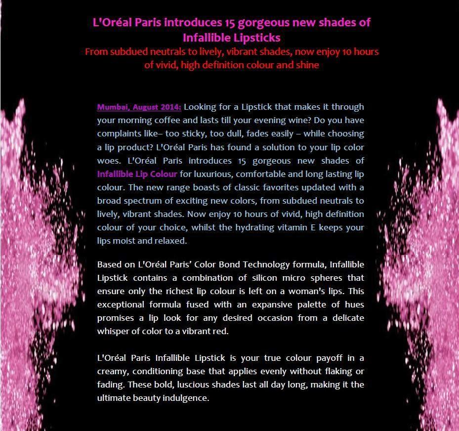 L'Oreal Paris Infallible Lipsticks - Press Release