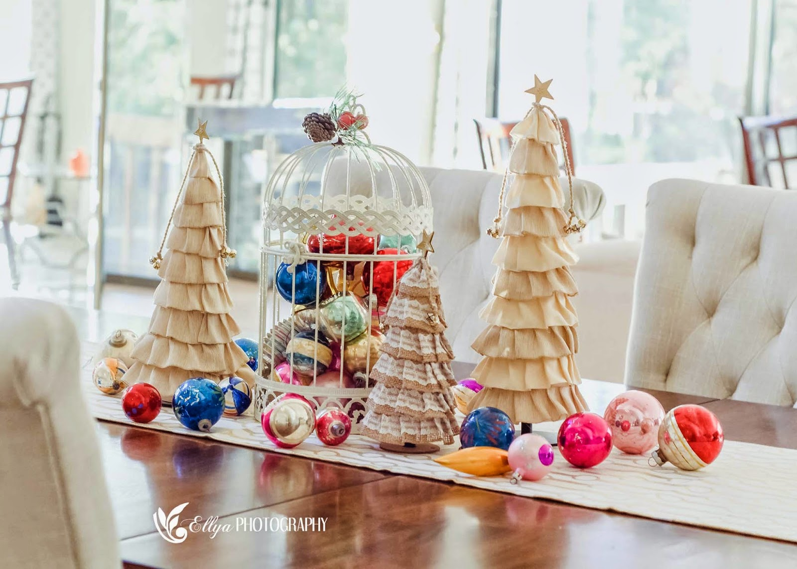 Curiositaellya mini ribbon christmas tree decoration for Decoration table nouvel an