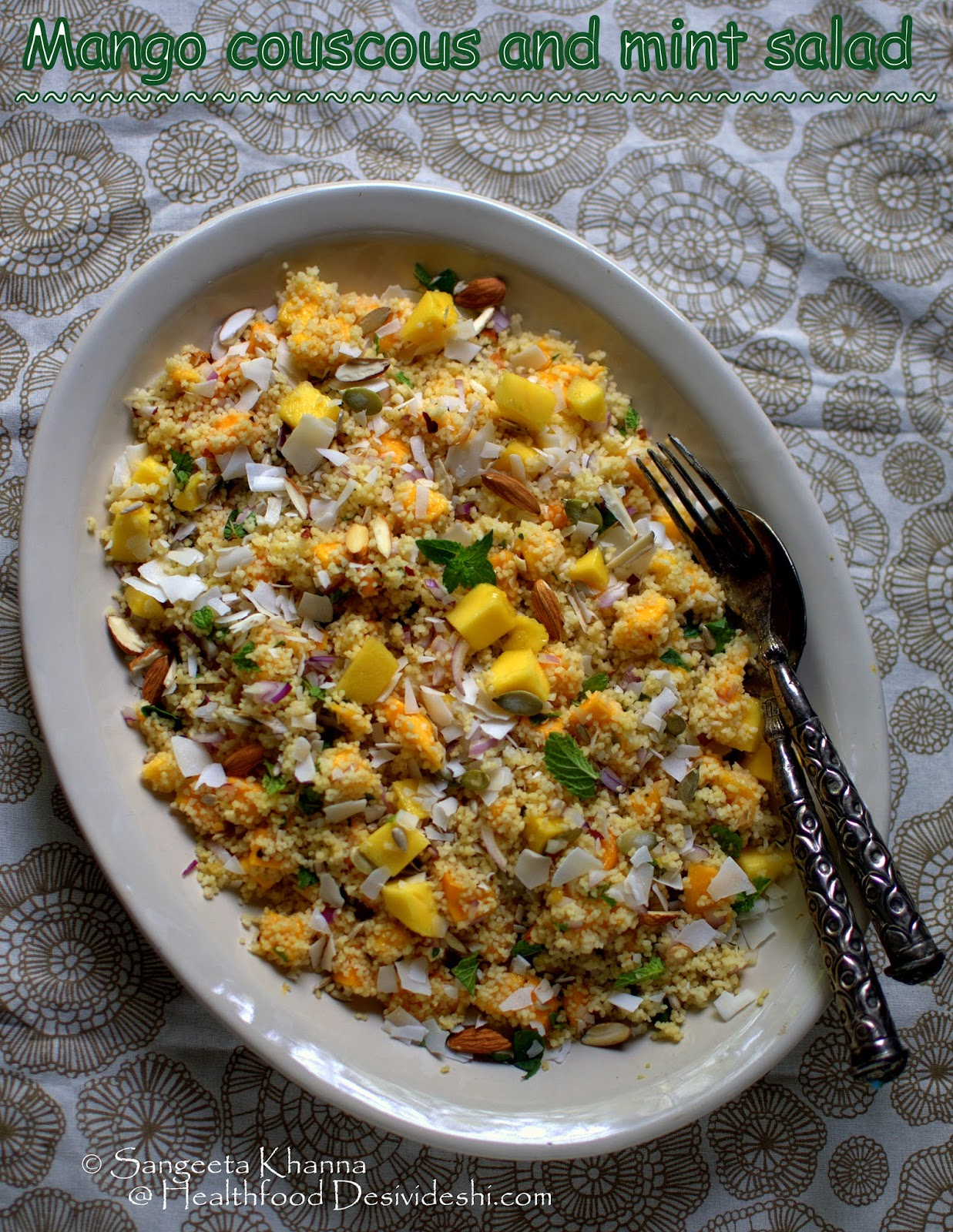 mango couscous salad with mint and my contribution to the cover story in Good Housekeeping India