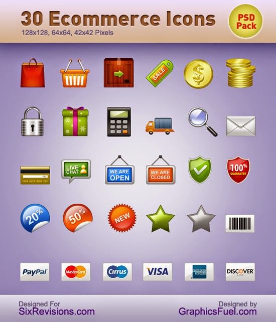 30 Ecommerce Icons PSD