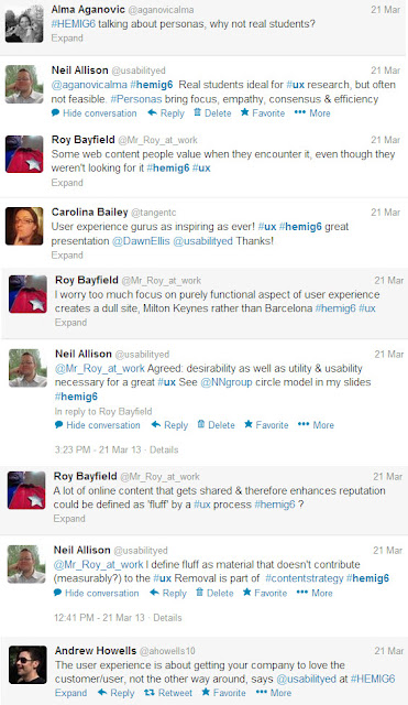 Twitter conversation and comments on the presentation