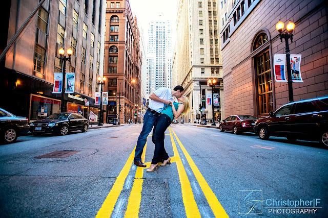 Lasalle Chicago Engagement Photo