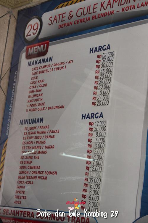 harga makanan di resto warung 29 semarang