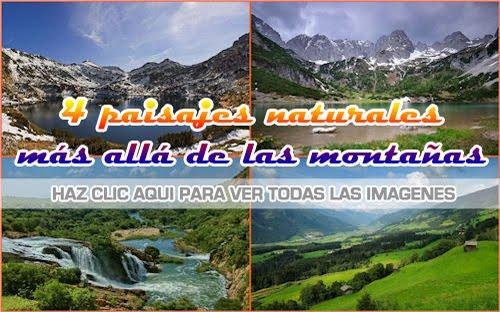4 fotografías con paisajes de las montañas