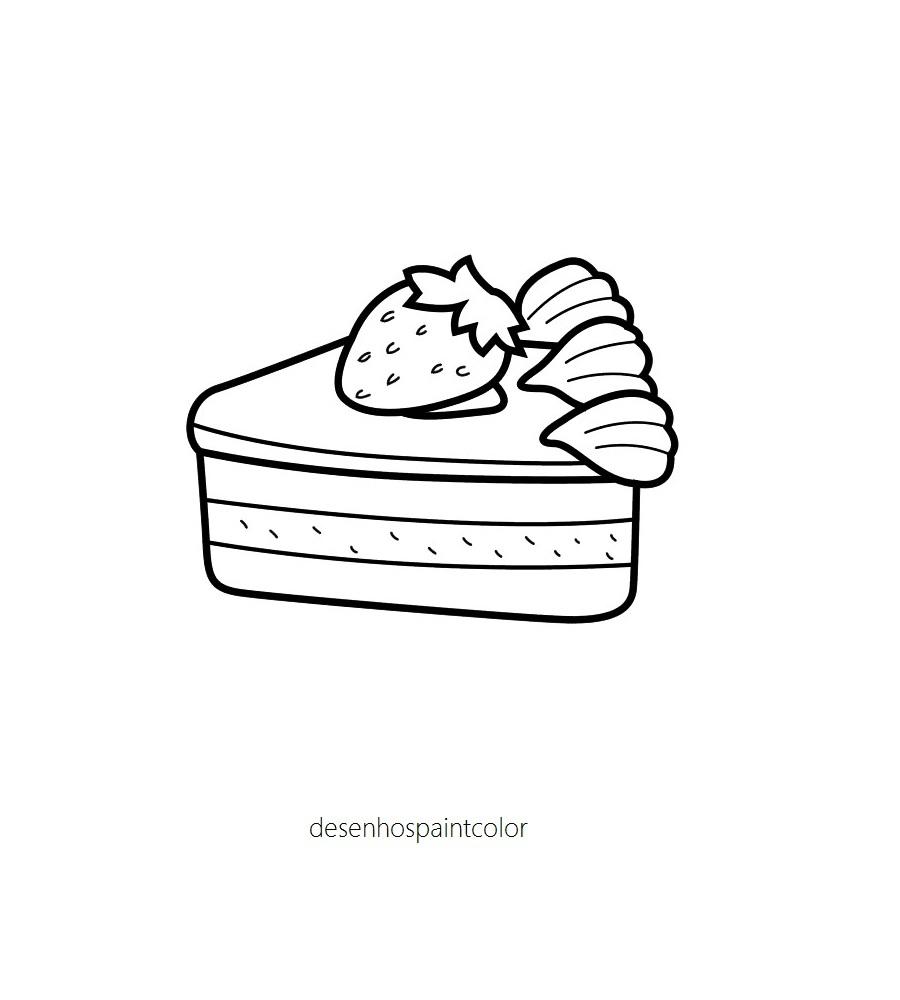 Desenho De Peda O Torta Morango Para Imprimir E Colorir