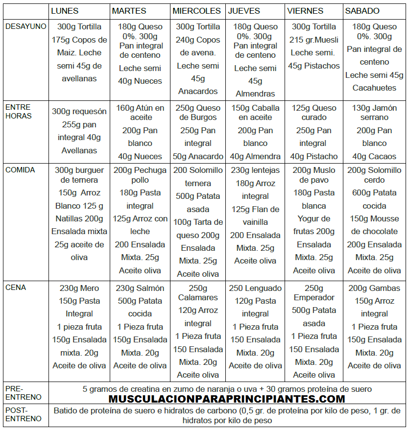 Musculacion para principiantes dieta volumen for Dieta gimnasio