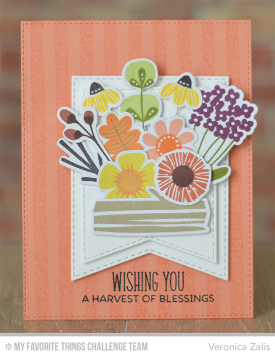 Harvest of Blessings Card by Veronica Zalis featuing the Fall Florals stamp set and Die-namics and the Birdie Brown Harvest Mouse stamp set #mftstamps