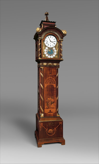 Clockmaker: Achim Schmidt, Marquetry panel by Reusch, Case by David Roentgen (German, Herrnhag 1743–1807 Wiesbaden, master 1780), ca. 1780 , German (Neuwied) , Oak veneered with harewood and other woods, gilt-bronze and brass