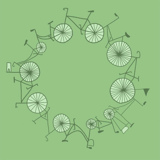 ilustraciones,Illustrations,Anita Ivancenko,Letonia,Latvia,Inglaterra,UK,verde,green,bicicletas