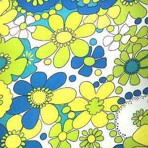 Tela Flores Azules y amarillas