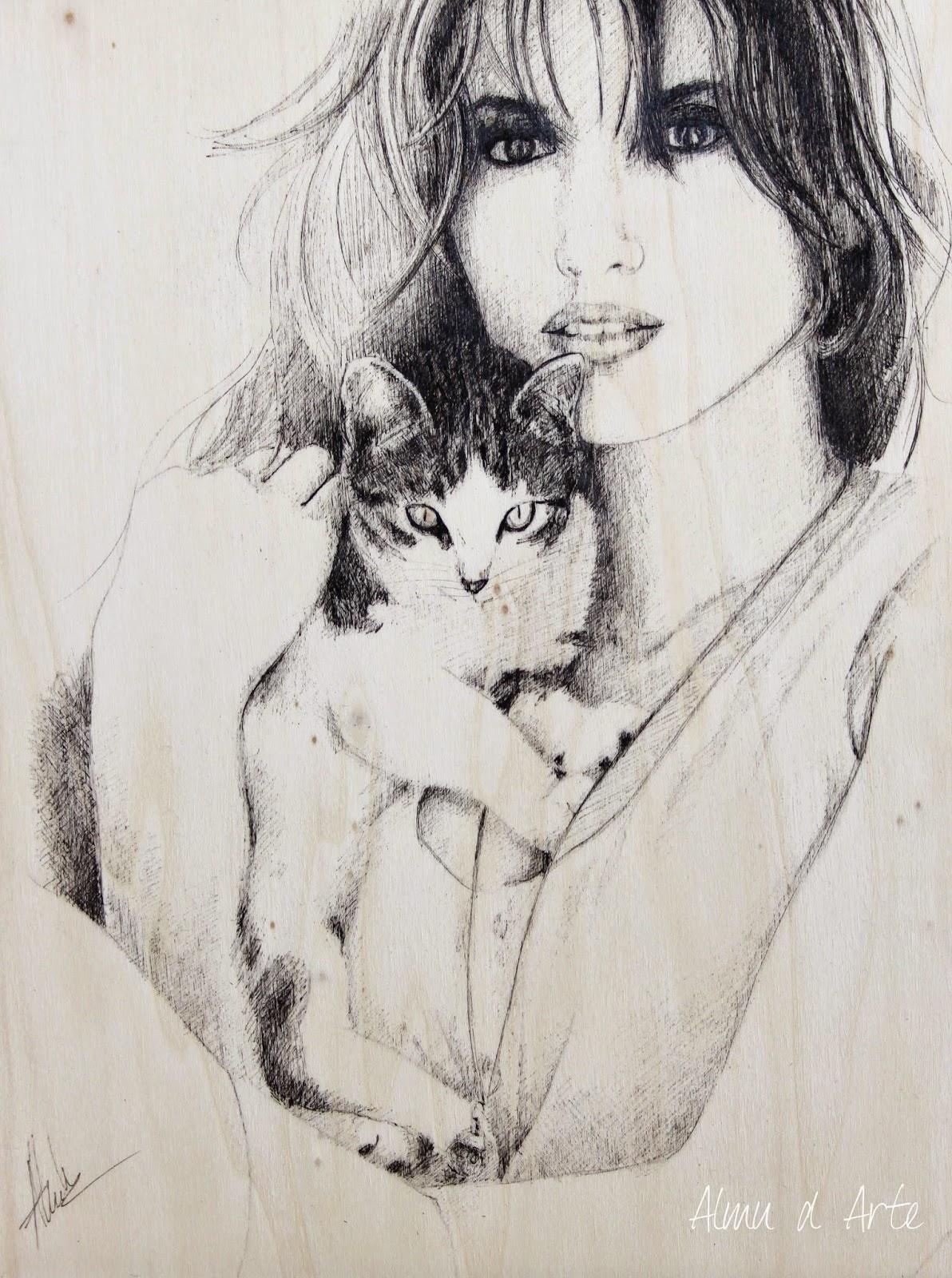 Retrato de mujer con su mascota