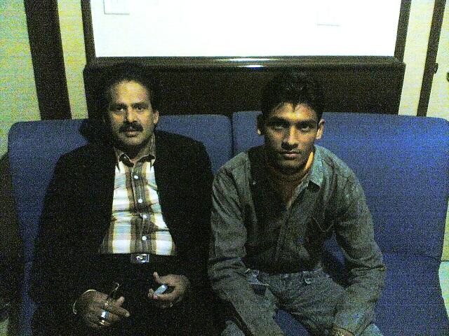 Anshu Dikshant with Bhojpuri Singer Bharat Sharma