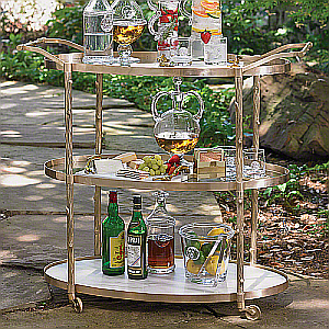 oval brass serving cart