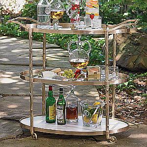 oval brass serving cart