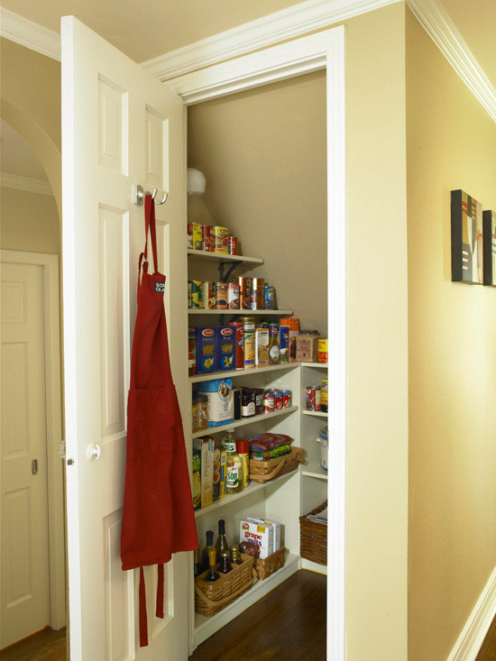 Omf to the rescue help for a troubled pantry organizing for Under stairs kitchen storage