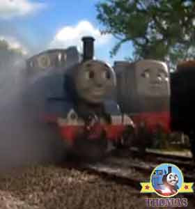 Little steam train Thomas showed Dennis diesel engine the way to the railway junction track signal