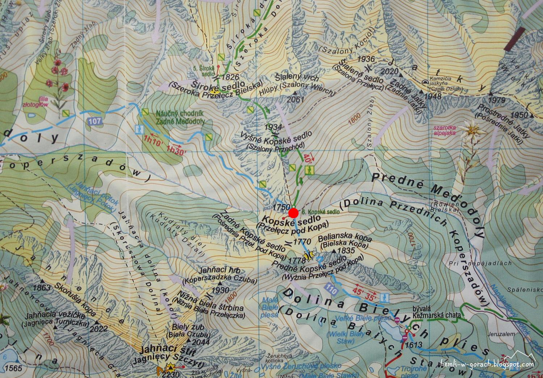 Przełęcz pod Kopą - mapa