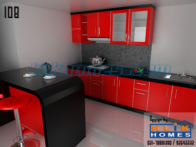 89 kitchen set minimalis warna merah kitchen set lurus for Kitchen set hitam putih