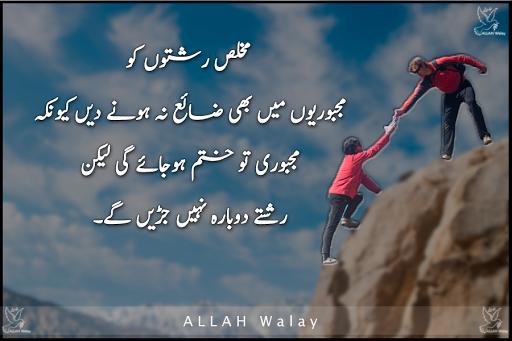 Mukhlis Doston Ko Majboroyoun Me Bhi - Quotes On Relation in Urdu