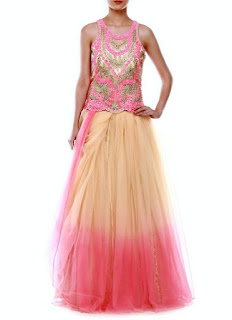 Beige Coral Pink Net Saree Gown | White Net Anarkali Gown