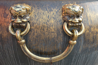 Handle of fire water cauldron in the Forbidden City