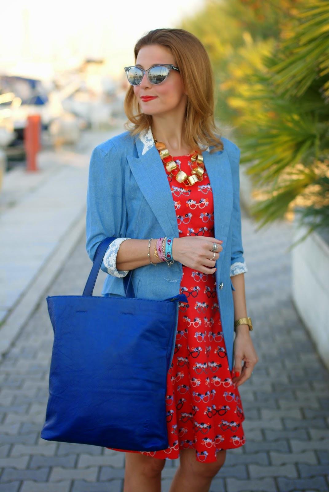 Blackfive denim blazer, nava design shopper bag, yumi glasses print dress, Fashion and Cookies, fashion blogger