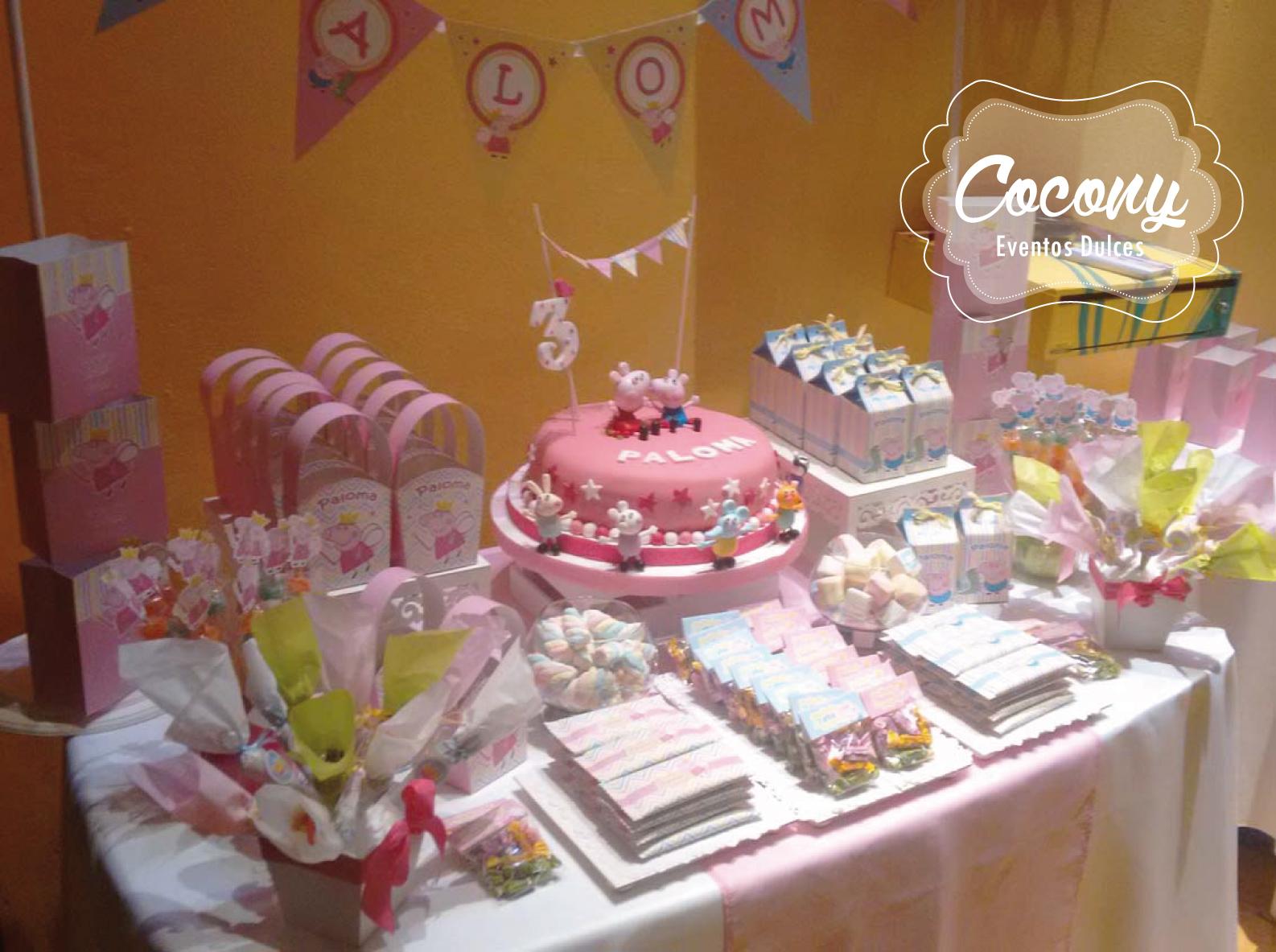 Cocony eventos dulces mesa dulce personalizada para for Mesa de peppa pig