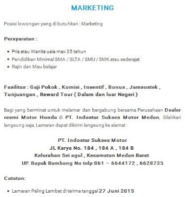 Lowongan kerja resmi PT Indostar Sukses Motor di Medan