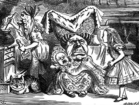 Cerdo y pimienta ilustrado por John Tenniel para Alicia en el País de las Maravillas - Cine de Escritor