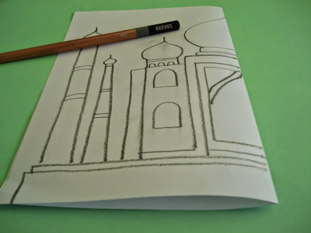 starting from the fold draw only half of the taj mahal imagine a dotted line going down the middle of the taj important use dark drawing pencils for