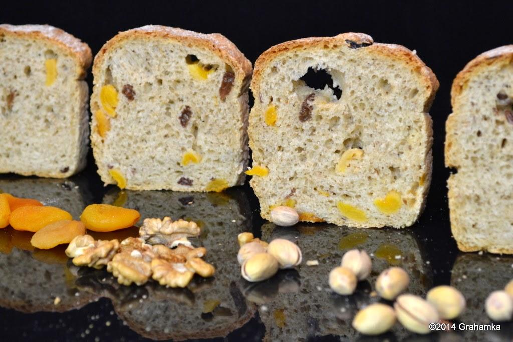 Chleb, morele, rodzynki orzechy i pistacje
