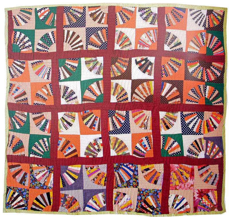 Unconventional & Unexpected: American Quilts Below the Radar by Roderick Kiracofe |  Fan. c1975-2000.  Found in Wood County, Texas Cotton, blends, Polyester. Hand quilted with green thread.