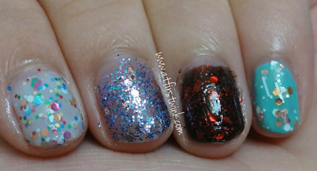 Etude House nail polish PBL601, PPP502, PBK801, and DGR701 (Tint Mint)