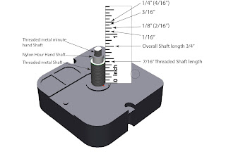 Clock movements clock motors a shaft long enough to clear the hole and leave enough shaft thread to screw on the hex nut the hex nut hold the clock motor tight to the clock body ccuart Choice Image