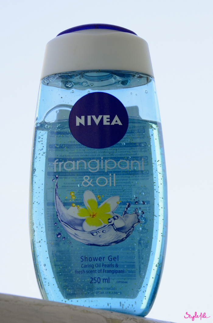 The Frangipani & Oil shower gel from Nivea has a fresh fragrance and delicate beads to care for the skin as part of the budget beauty options on Style File
