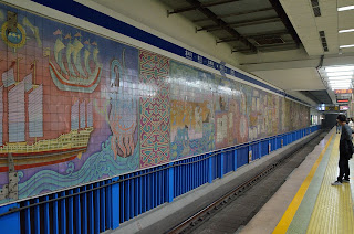 Subway station mural in Beijing