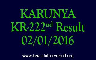 KARUNYA KR 222 Lottery Result 2-1-2016
