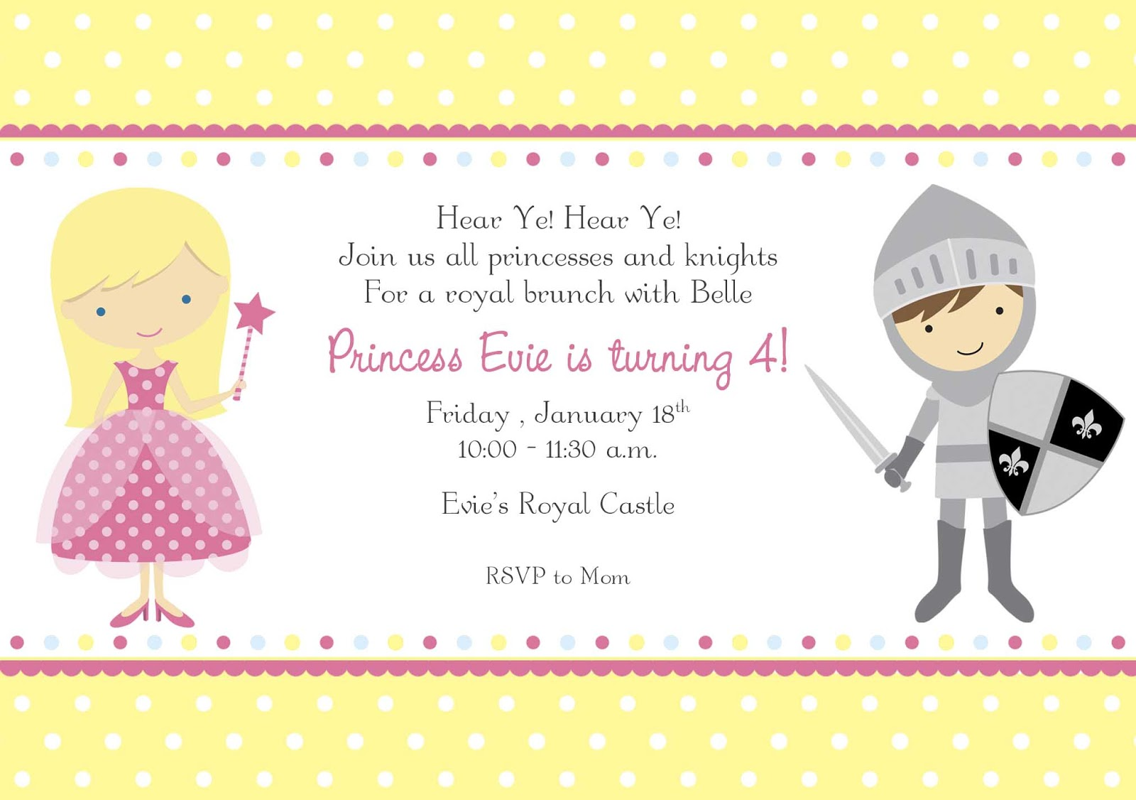 The Niemeyer Nest Evies 4th Birthday Belle Bash – Princess and Knight Party Invitations