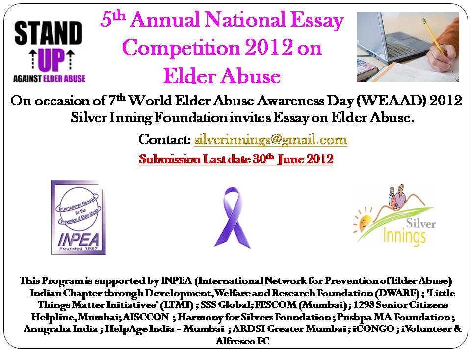 silver innings blog for senior citizens and their family th  5th annual national essay competition 2012 7th world elder abuse awareness day weaad 2012